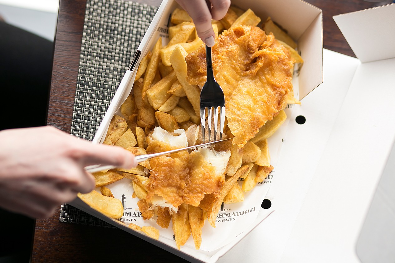A box of fish and chips at The Fishmarket Edinburgh