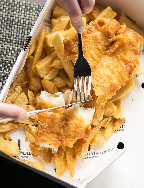 A box of fish and chips at The Fishmarket Edinburgh