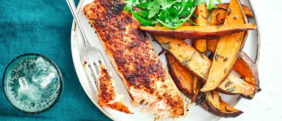 Cajun Salmon Recipe with Rosemary Sweet Potato Wedges