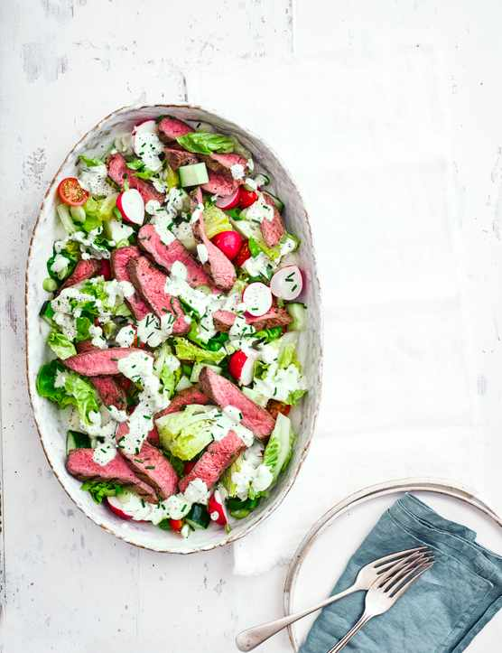 Chargrilled steak with chopped salad and blue-cheese dressing