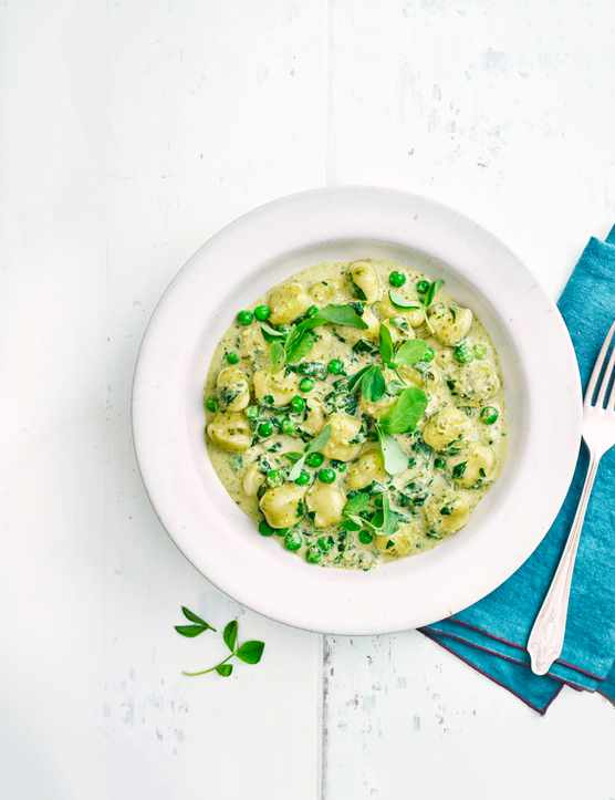 Gnocchi with Peas, Spinach and Pesto Recipe