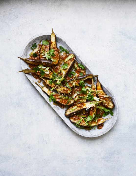 Aubergines with Peanut Dressing Recipe