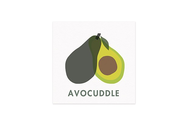 A white card with a drawing of an avocado on the front and the word avocuddle at the bottom