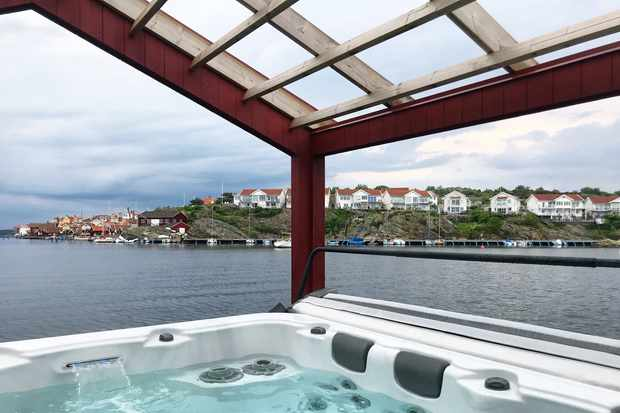 Spa overlooking harbour at Slipens Hotell Sweden