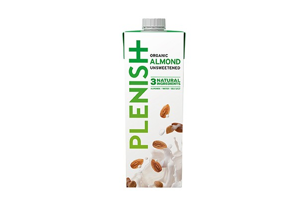 A white carton filled with Plenish almond milk with green writing and images of almonds on the front