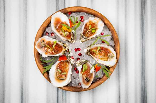 Oysters on ice at Ruya Mayfair