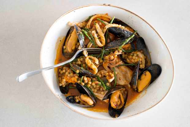 Rose harissa fish stew with fregola at Trevibban Mill, Padstow