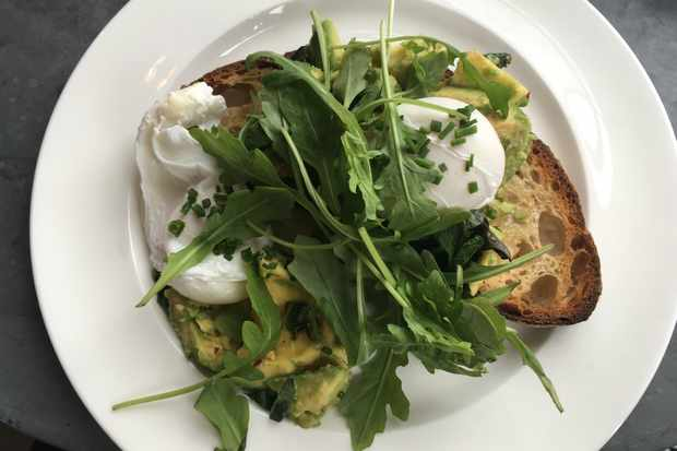 Avo on toast with poached eggs