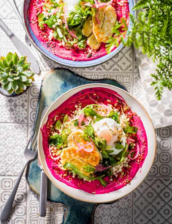 Borani Recipe with Halloumi and Beetroot