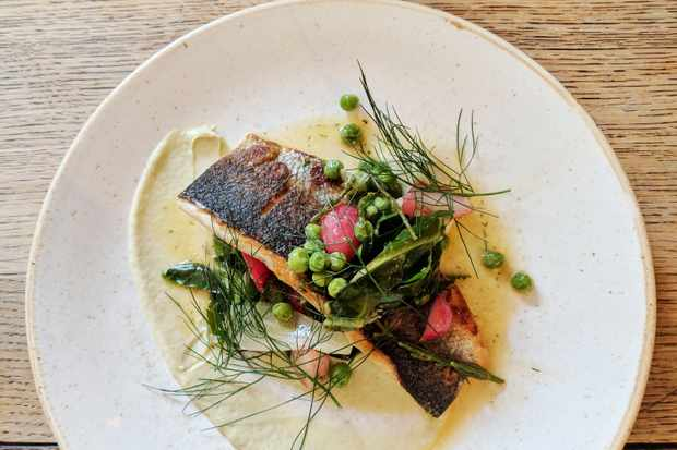 Pan-fried sea bass with artichoke purée