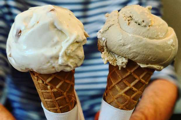 Cones topped with hazelnut brittle and salted treacle gelato at Jack's Gelato in Cambridge