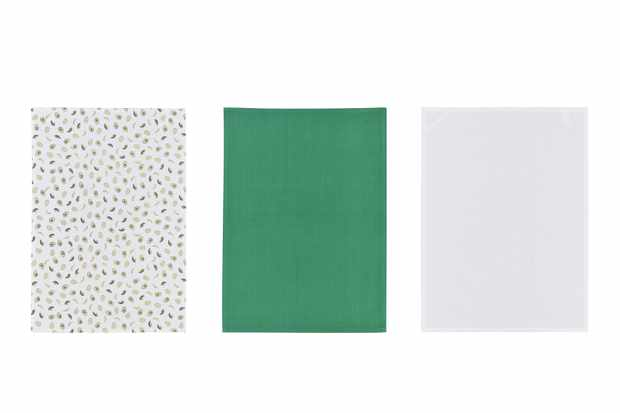 Three tea towels, one green tea towel, one white tea towel and one white tea towel with avocados printed on it