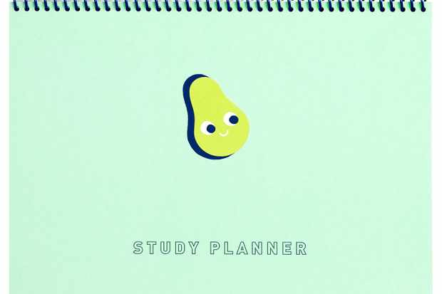 A green notebook with a drawing of an avocado on the front and the words study planner