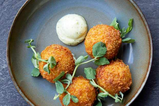 Pea Croquettes Recipe with Feta and Mint Mayo