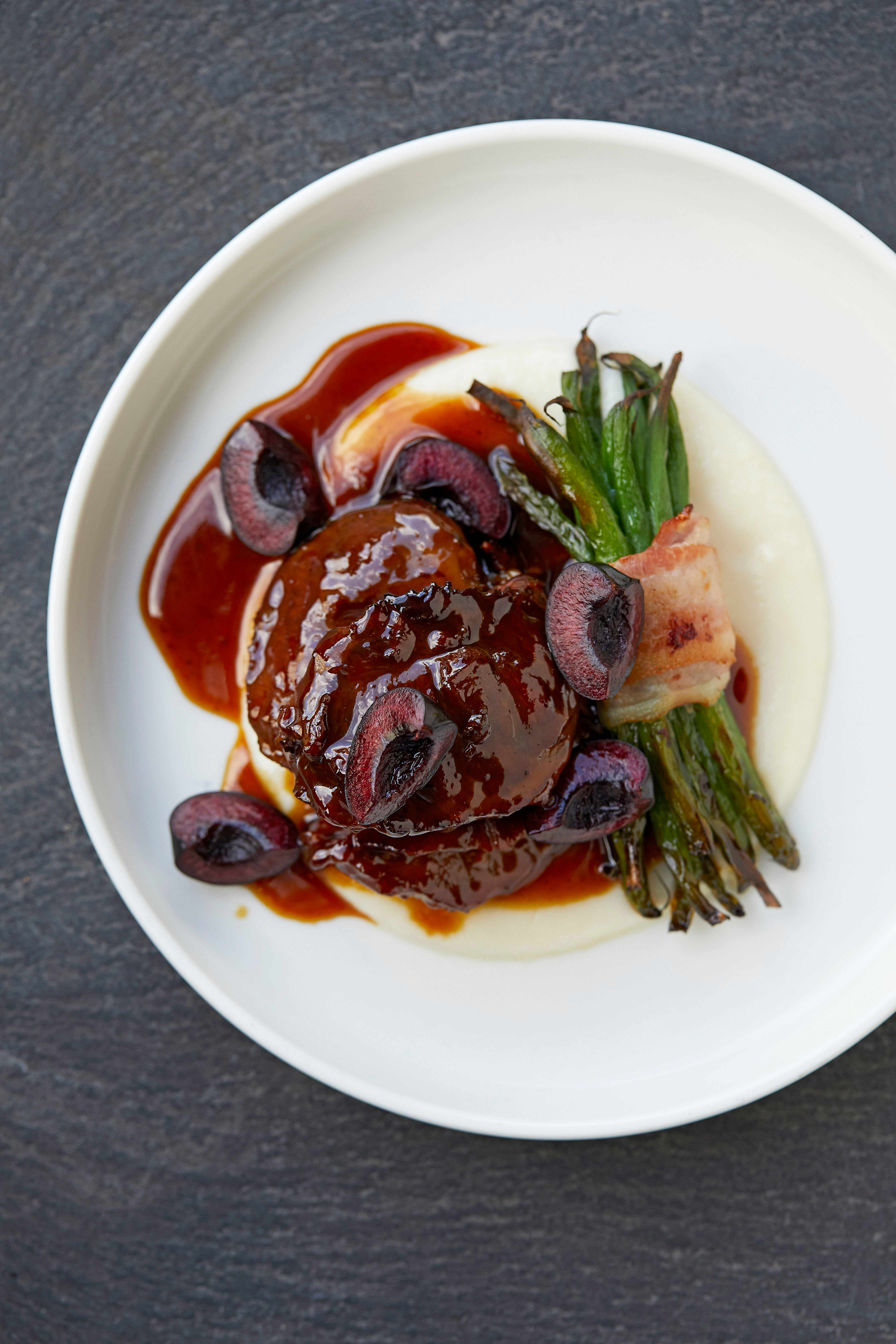 Pig Cheeks Recipe with Pickled Cherries and Turnip Purée