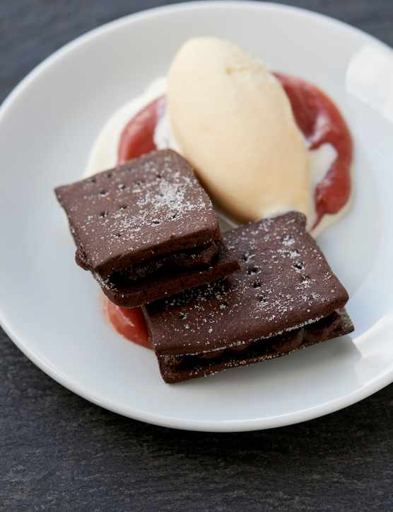 Bourbon Biscuit Recipe with Rhubarb Ice Cream