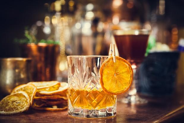 A sunset sazerac cocktail