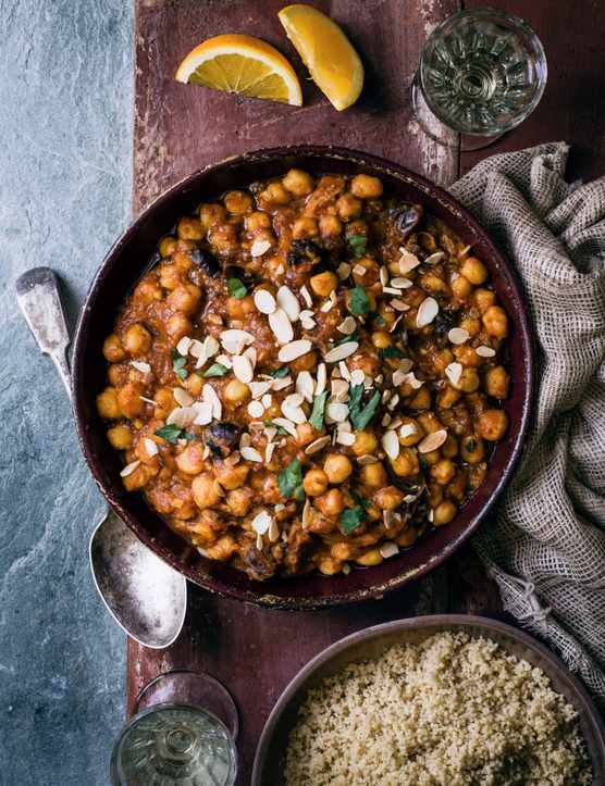 Vegan Chickpea Stew Recipe with Almonds