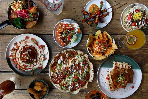 A selection of Mexican inspired vegan street-food brunch dishes at Club Mexicana, The Spread Eagle