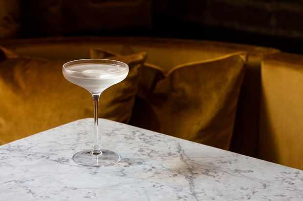 A full martini glass