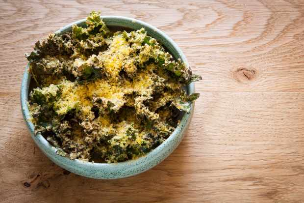 Kale salad with pickled walnut and sheep's yogurt dressing