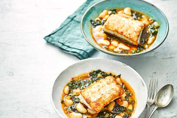 Pan Fried Cod Recipe with Butter Beans