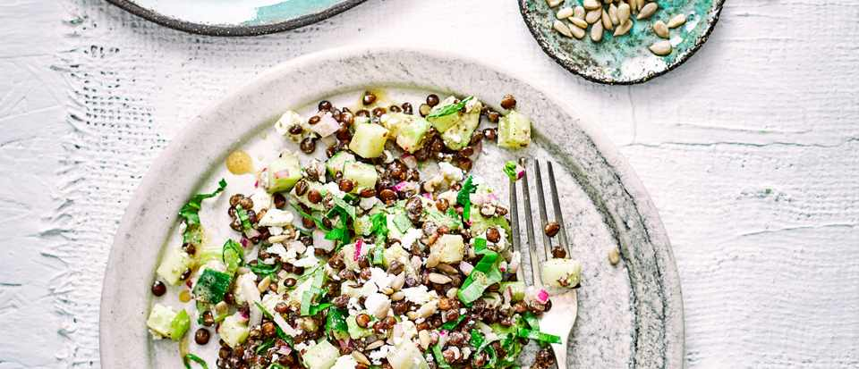 Lentil and Avocado Salad Recipe with Feta