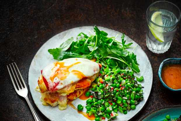 Peri Peri Chicken with Mozzarella and Macho Peas