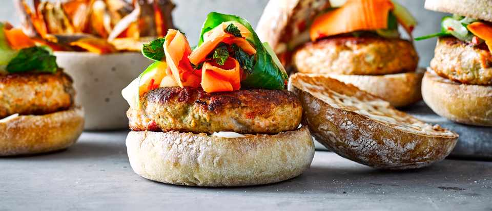 Thai Salmon Burgers With Sweet Potato Wedges
