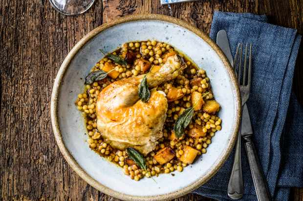 Chicken and Squash Recipe with Sage and Fregola