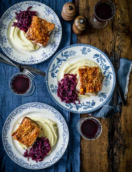 Slow Cooked Pork Belly Recipe with Red Cabbage and Mash