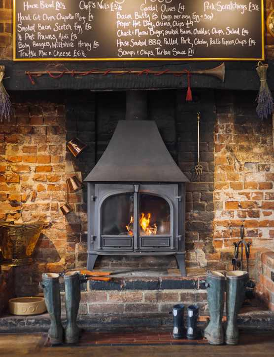 Three Tuns bar woodburner