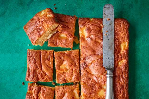 Salted Caramel Blondie Recipe with Pears