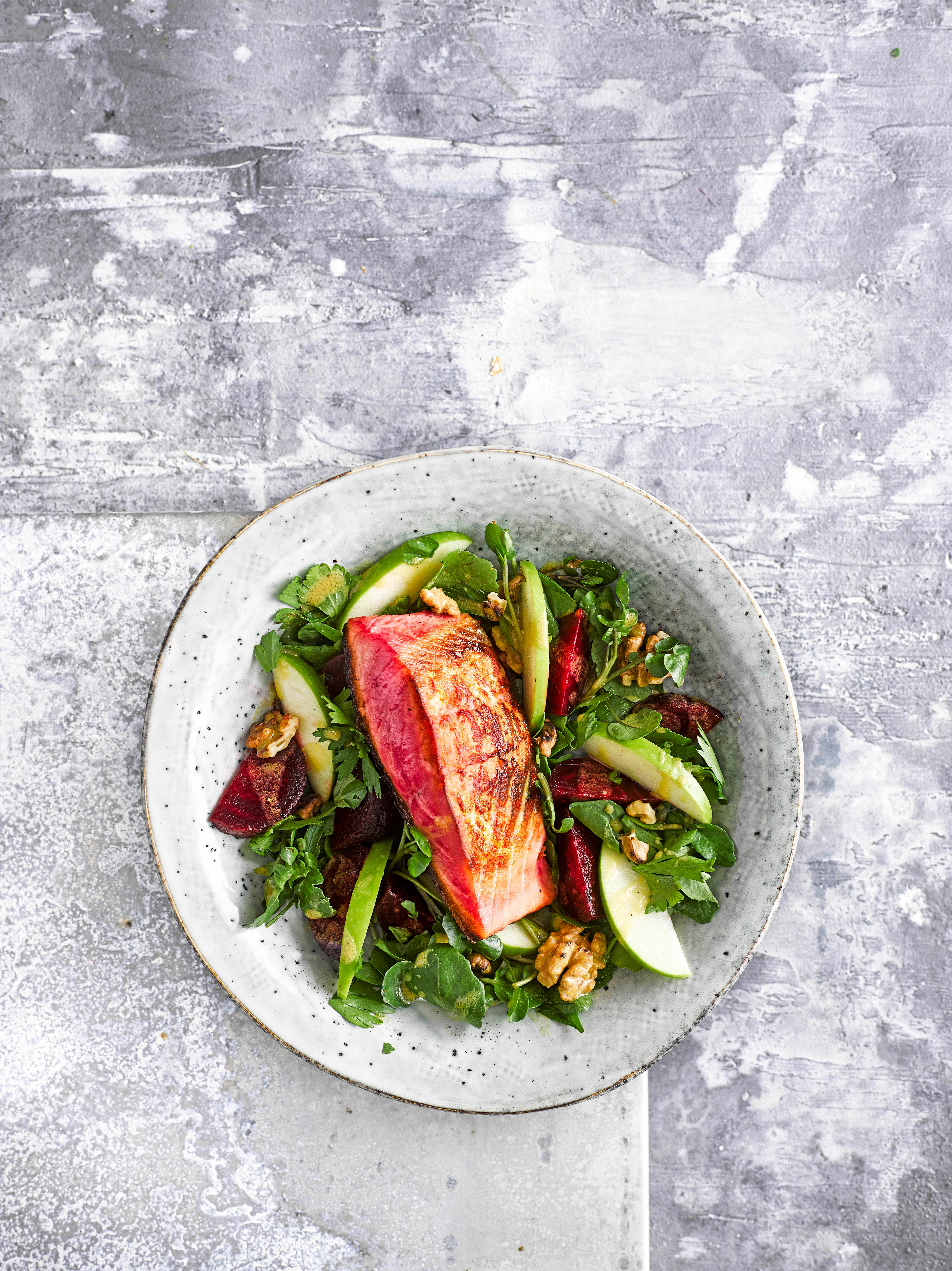 Cured Beetroot Salmon Recipe with Beetroot and Apple Salad