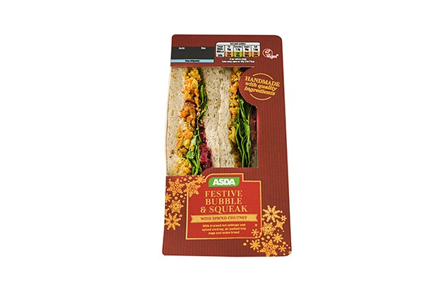 Asda festive bubble and squeak vegan Christmas sandwich