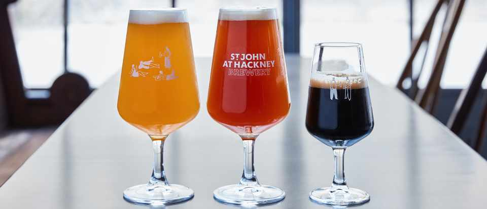 A selection of beers at St John at Hackney Brewery Review Photo by Nathan Pask
