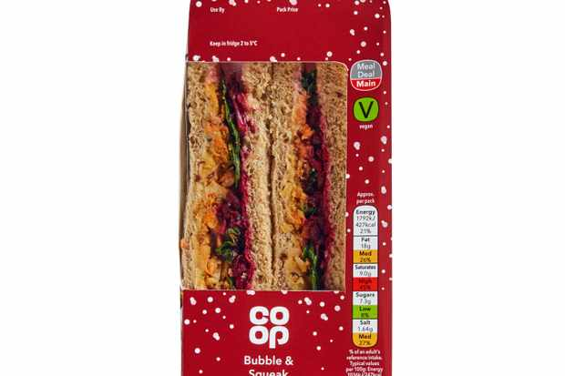 Co-op Vegan Bubble and Squeak Christmas sandwich