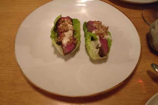Wagyu beef lettuce cup with smoked anchovy