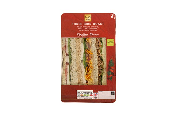 Marks and Spencer three bird roast Christmas sandwich