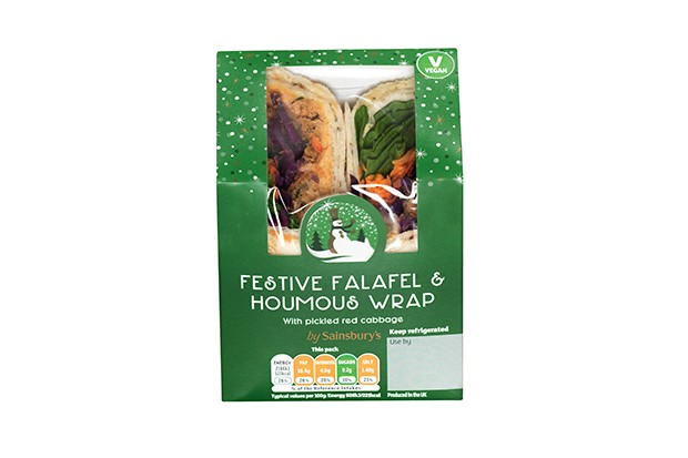 Sainsbury's festive falafel and hummus wrap Christmas sandwich