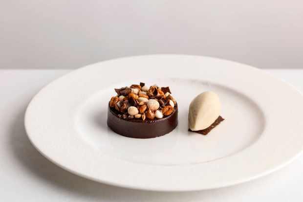 Dark chocolate pudding at Kerridge's Bar and Grill