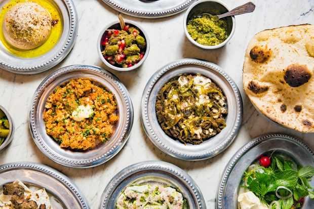 Hummus, Omelette Irani, Taftoom, Pickled Chillis, Zeytoon Parvardeh, Panir Sabzi, Torshi