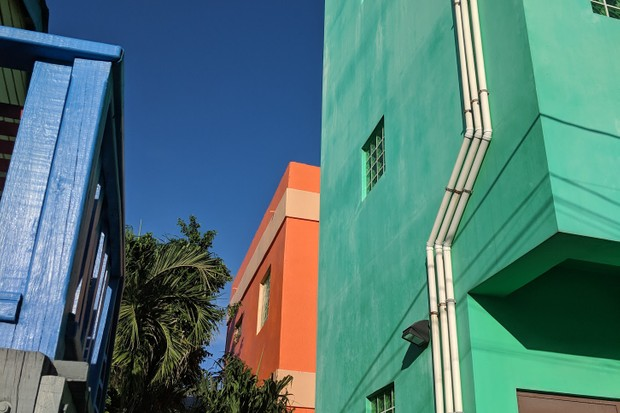 Colourful buildings in San Pedro, Belize