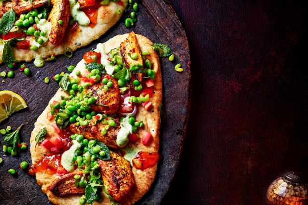 Naan Bread with Turkey and Pea Relish Recipe