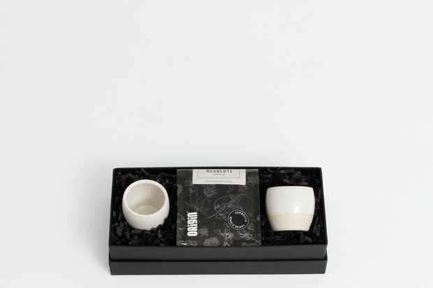 Dor and Tan espresso tumbler gift set in cream