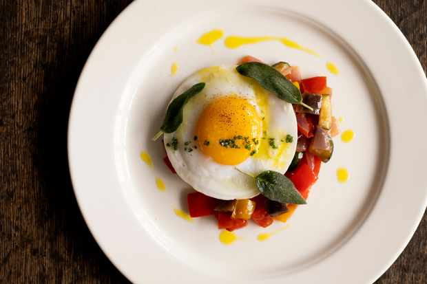 Ratatouille, Fried Duck Egg and Lemon Thyme at The Falcon