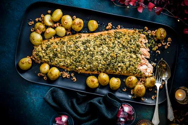 Herb Crusted Salmon Recipe with New Potatoes