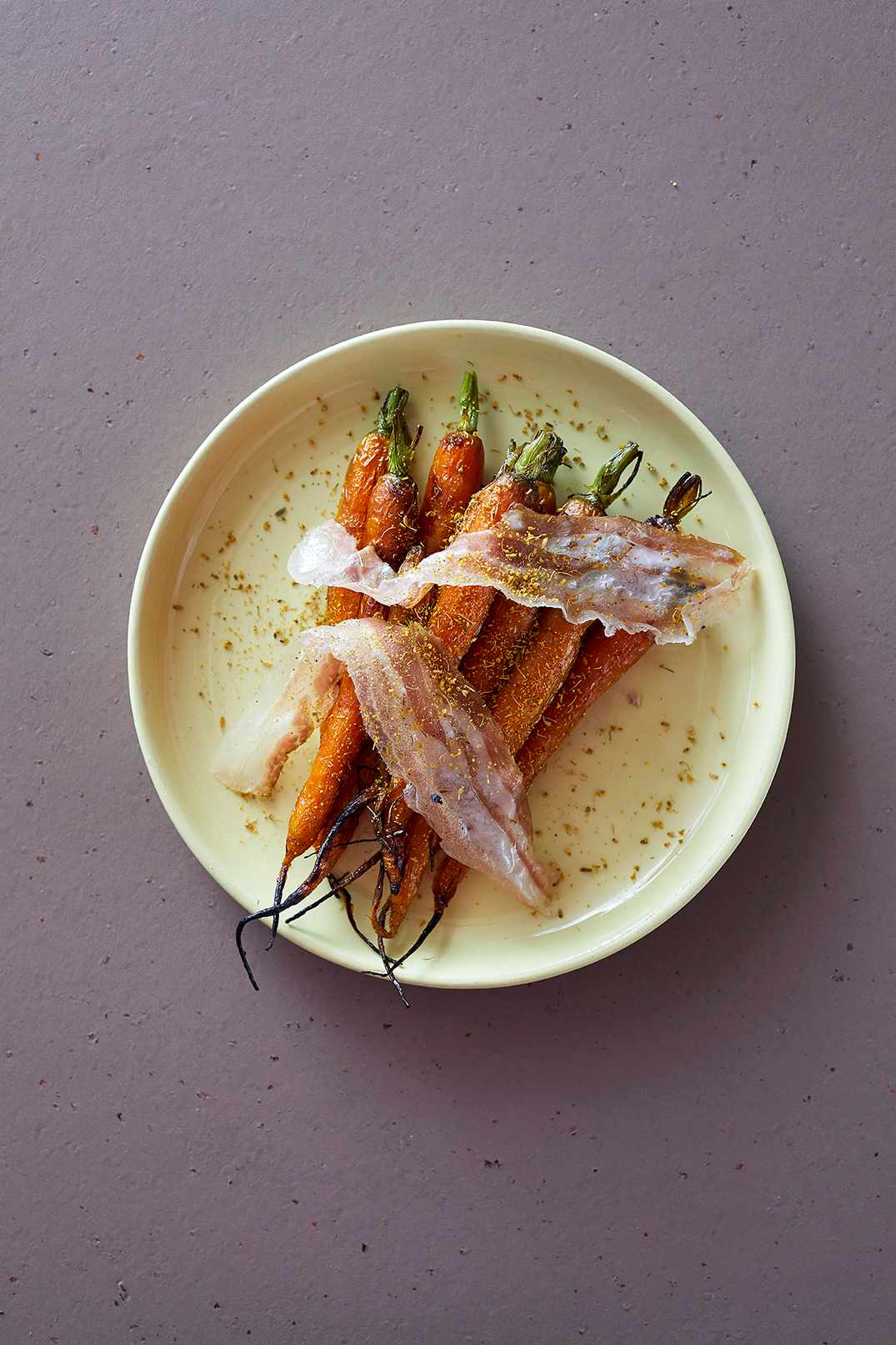 Roasted carrots with lardo and fennel pollen