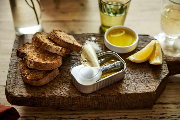The Wild Rabbit pub menu – toasted bread with sardines