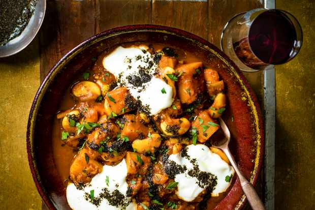 Butternut Squash and Butterbean Stew Recipe with Yogurt